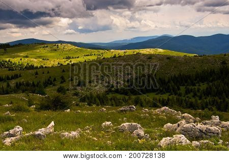 View from the top of beautiful Beljanica mountain in east Serbia