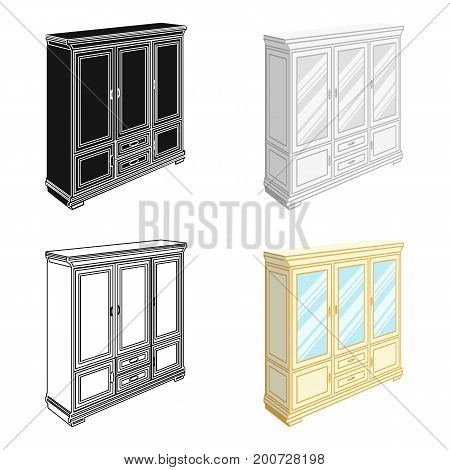 Cabinet with glass doors and drawers. Furniture and interior single icon in cartoon style vector Isometric symbol stock illustration .