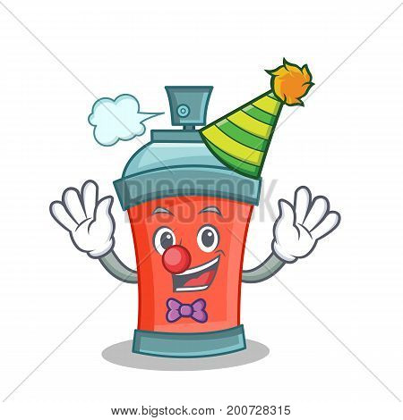 Clown aerosol spray can character cartoon vector illustration
