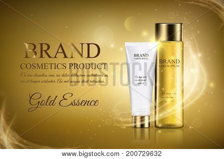 Golden cosmetic ads template a glass translucent bottle hair oil and white tube mock up on a gold background with flare effect. Moisturizing skincare premium product. Vector illustration eps10
