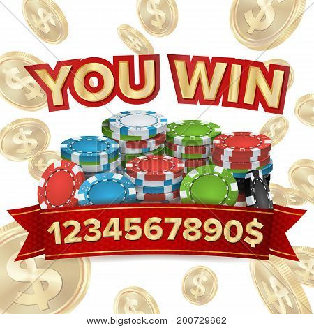 You Win. Jackpot Background Vector. Falling Explosion Gold Coins Illustration. Jackpot Prize Design. Poker Chips
