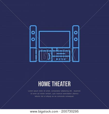 Entertainment system with blank screen flat line icon. Wireless technology, home theater sign. Vector illustration of devices for electronics store.