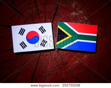 South African Flag With South Korean Flag On A Tree Stump Isolated