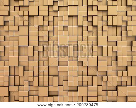 Abstract random boxes background. Abstract background made of boxes of the cubic and rectangular shape in a random way pushed on different depth, 3D illustration.