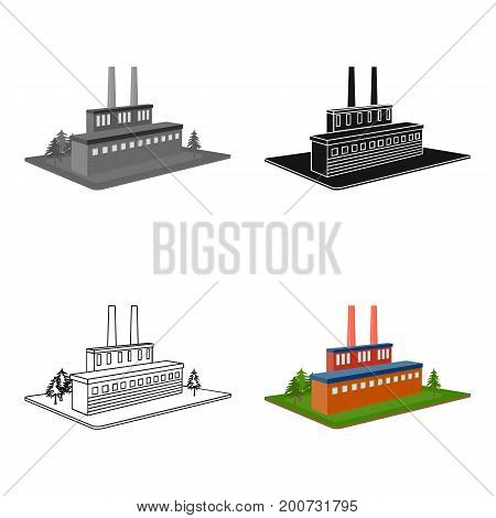 Processing factory. Factory and industry single icon in cartoon style isometric vector symbol stock illustration .