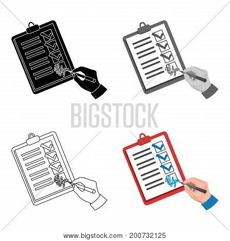 Signature of the delivery document. Logistics and delivery single icon in cartoon style isometric vector symbol stock illustration .