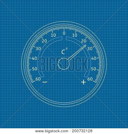 Thermometer outline. Vector illustration on blueprint background