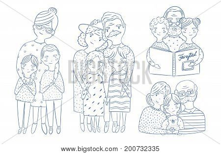 Happy grandparents with grandchildren set. Hand drawn outline illustrations collection