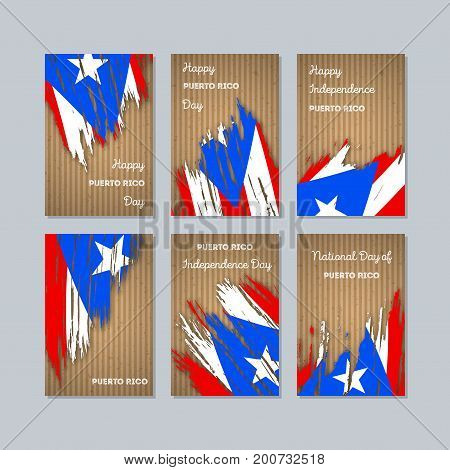 Puerto Rico Patriotic Cards For National Day. Expressive Brush Stroke In National Flag Colors On Kra