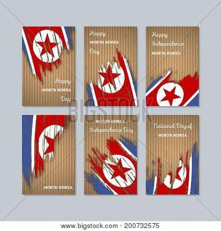 North Korea Patriotic Cards For National Day. Expressive Brush Stroke In National Flag Colors On Kra
