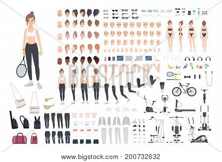 Sports girl character constructor. Fitness woman creation set. Different postures, hairstyle, face, legs, hands, equipment, clothes collection. Vector cartoon illustration Front side back view