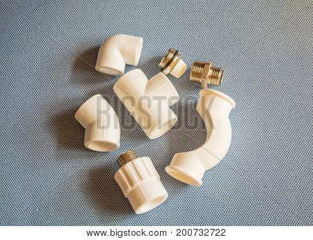 Nuts, screws and other spare parts for plumbing work