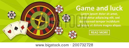 Game and luck banner horizontal concept. Flat illustration of game and luck banner horizontal vector concept for web