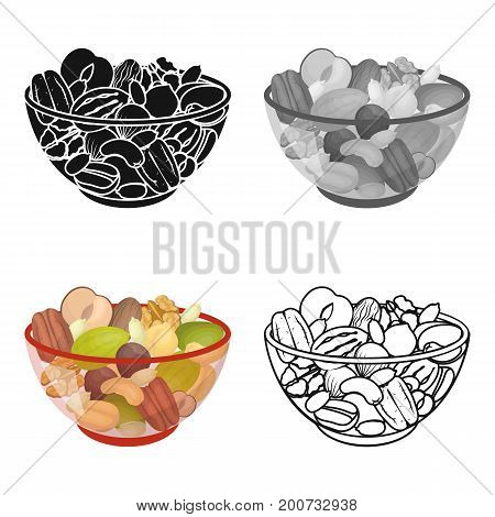 A mixture of different kinds of nuts. Different nuts single icon in cartoon style vector symbol stock illustration .