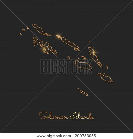 Solomon Islands Region Map: Golden Glitter Outline With Sparkling Stars On Dark Background. Detailed