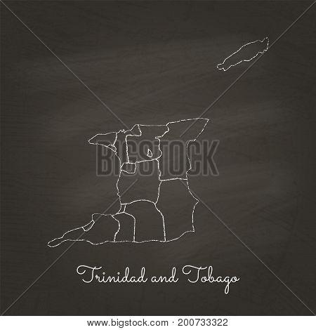 Trinidad And Tobago Region Map: Hand Drawn With White Chalk On School Blackboard Texture. Detailed M