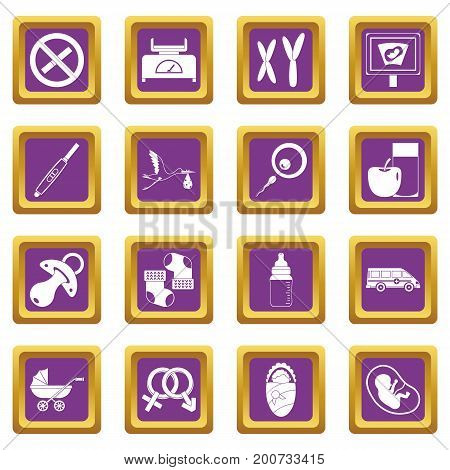 Pregnancy symbols icons set in purple color isolated vector illustration for web and any design