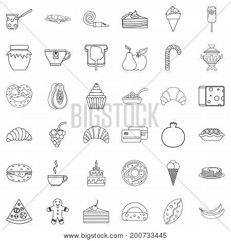 Sweet candy icons set. Outline style of 36 sweet candy vector icons for web isolated on white background