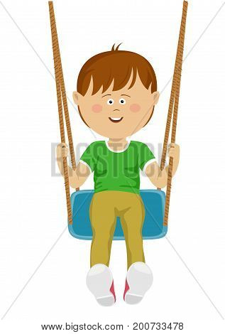 Laughing teenager boy riding a swing over a white background