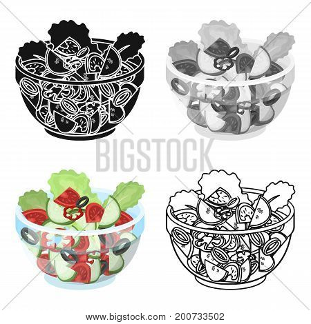 Delicious vegetable salad. Vegetarian food single icon in cartoon style vector symbol stock illustration .