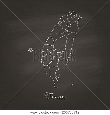 Taiwan Region Map: Hand Drawn With White Chalk On School Blackboard Texture. Detailed Map Of Taiwan