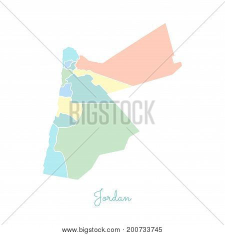 Jordan Region Map: Colorful With White Outline. Detailed Map Of Jordan Regions. Vector Illustration.