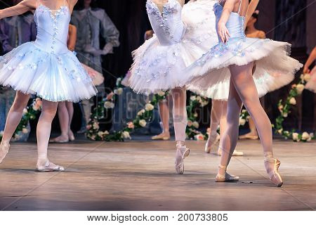 dancing, passion, popularity concept. group of magnificent ballerinas wearing adorable blue dresses with tutus and sparkling sequins, white tights and satin pointe shoes
