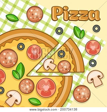 Poster with homemade pizza & salami tomato and mushrooms food vector illustration