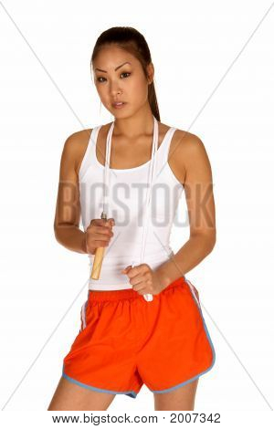 Young Asian Woman With Jump Rope