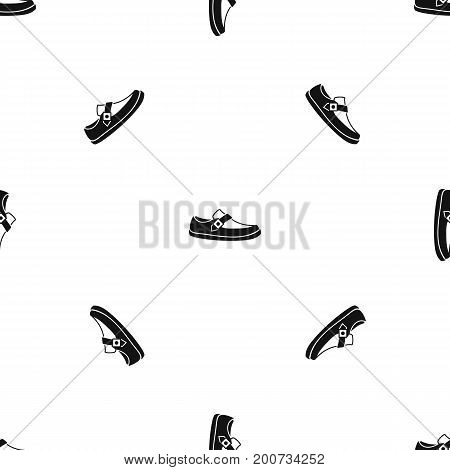 Men moccasin pattern repeat seamless in black color for any design. Vector geometric illustration