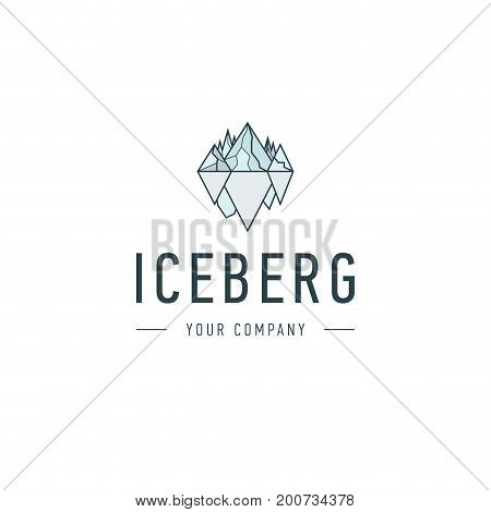Iceberg triangle of cold mountain abstract vector and logo design or template hill business icon of company identity symbol concept. Iceberg