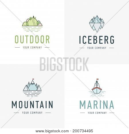 Set of vector mountain and outdoor adventures logo. Tourism, hiking and camping labels. Mountains and travel icons for tourism organizations, outdoor events and camping leisure. Iceberg, shep
