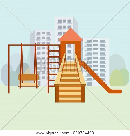 Kids playground moden vector illustration. City playground concept