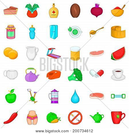 Dietary product icons set. Cartoon style of 36 dietary product vector icons for web isolated on white background