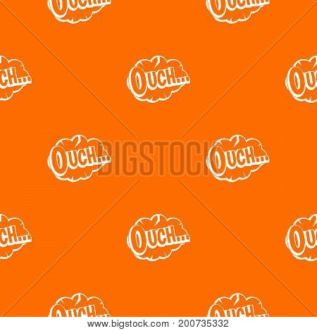 Ouch, speech cloud pattern repeat seamless in orange color for any design. Vector geometric illustration