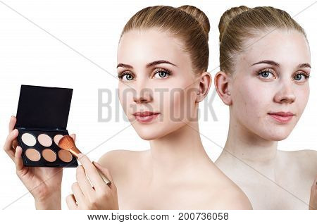 Lovely girl holding palette for contouring face. Before and after contouring makeup.