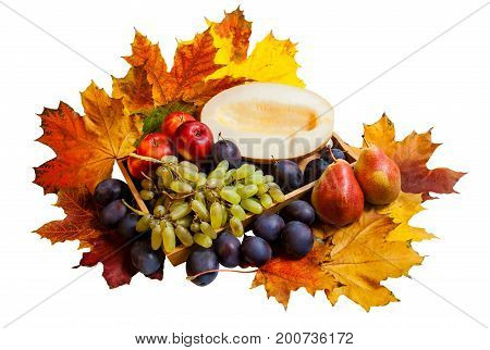 Fruits on wooden tray isolated on white background