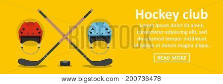 Hockey club banner horizontal concept. Flat illustration of hockey club banner horizontal vector concept for web