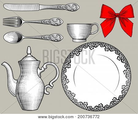 Dinnerware, cutlery and red bow in old style. Vintage stylized drawing