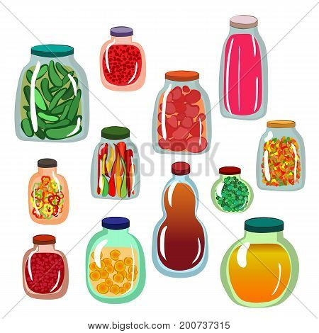 Collection of icons of pickled vegetables in glass jars. Vector illustration. Isolated elements set in cartoon style.