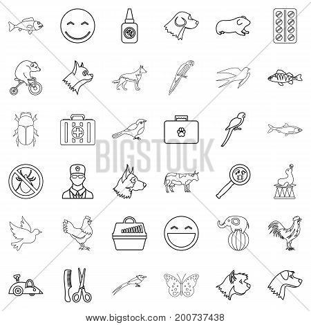 Domestic animal icons set. Outline style of 36 domestic animal vector icons for web isolated on white background