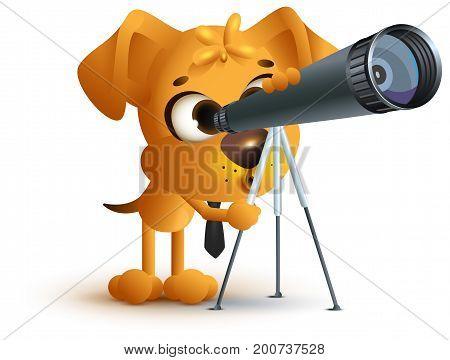 Yellow fun dog teacher looking through telescope. Astronomy lesson. Isolated on white vector cartoon 3d illustration