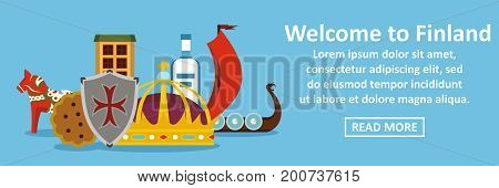 Welcome to finland banner horizontal concept. Flat illustration of welcome to finland banner horizontal vector concept for web