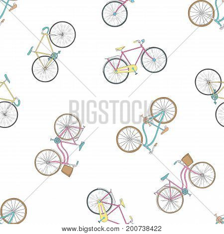 Seamless pattern with hand drawn bicycles modern and retro style. Different types city, fix, highway, cruiser, sport, mountain bike. Colorful background