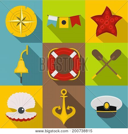Sea travel icons set. Flat set of 9 sea travel vector icons for web with long shadow