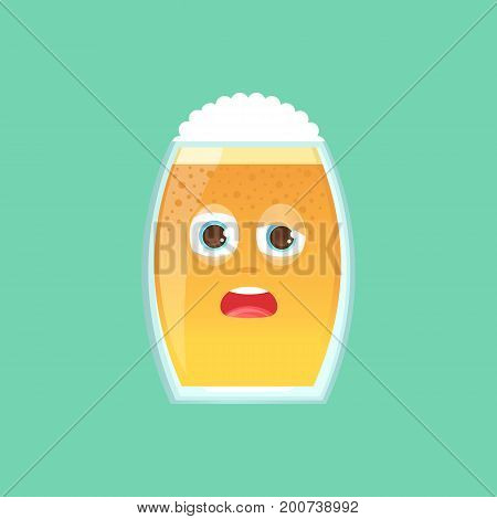 Character glass with beer, foam and bubbles. Emotional icon. Drunk, sleepy, tired with squinted eyes, in perplexity. To the day of the Oktoberfest. Stickers for messenger and other communications.