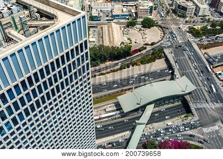 View of urban roads, freeways and modern building in Tel Aviv, Israel.