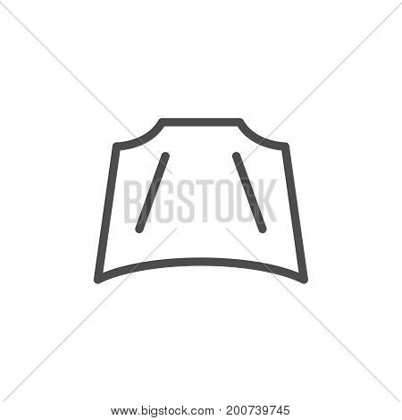 Car hood line icon isolated on white. Vector illustration