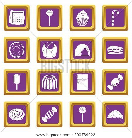 Sweets and candies icons set in purple color isolated vector illustration for web and any design