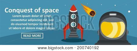 Conquest of space banner horizontal concept. Flat illustration of conquest of space banner horizontal vector concept for web